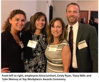 Employees Anna Lenhart, Cindy Ryan, Tracy Mills and Tyler Matney at Top Workplaces Awards Ceremony