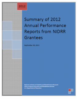 Summary of 2012 Annual Performance Reports from NIDRR Grantees front cover