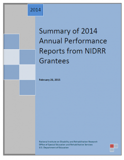 Summary of 2014 Annual Performance Reports from NIDRR Grantees front cover