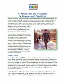 AT Information and Resources for Veterans with Disabilities front cover