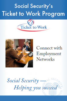 Poster promotes connecting with Employment Networks to ticket holders