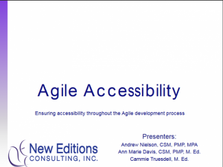 Title Slide - Agile Accessibility - Ensuring accessibility throughout the Agile development process