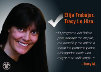 Elija Trabajar. Tracy Lo Hizo. Spanish version of the Save the Date Postcard.