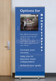 Display banner featuring an employee working in a kitchen