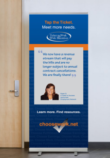 Display banner featuring Karen D., a Ticket to Work ticket holder