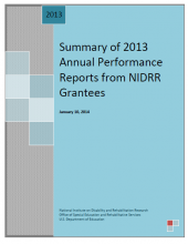 Summary of 2013 Annual Performance Reports from NIDRR Grantees front cover