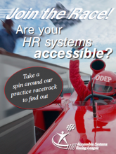 Poster with race car driver, designed to promote the ASRL
