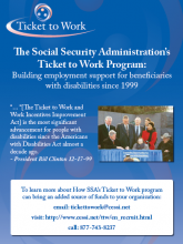 Poster featuring quote from Bill Clinton about the Ticket to Work program