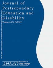 AHEAD Journal of Postsecondary Education and Disability cover