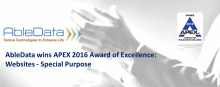 AbleData wins APEX 2016 Award of Excellence: Websites, Special Purpose